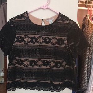 Small Black Lace Crop Top